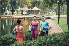Mensen die aan yogaglas komen royalty-vrije stock afbeelding