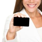Mensen die adreskaartje tonen: vrouw Royalty-vrije Stock Foto