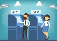 Mensen die in bank in rij wachten betaling vector illustratie