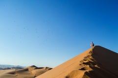 Mensen die Big Daddy Dune beklimmen, die de Top met Vogels bekijken Royalty-vrije Stock Foto