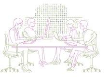 Mensen die bij computers in bureau werken vector illustratie