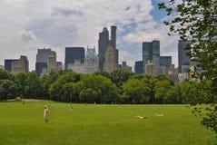 Mensen die bij het Central Park met de horizon van New York op de achtergrond, in de stad New-York ontspannen Royalty-vrije Stock Afbeeldingen