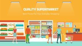 Mensen die bij supermarkt winkelen vector illustratie