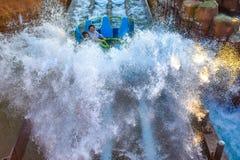 Mensen die de achtbaan van pretkraken hebben in Seaworld Marine Theme Park 4 stock foto