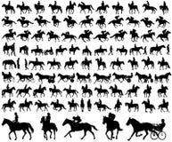 Mensen die de inzameling van paardensilhouetten berijden Royalty-vrije Stock Afbeelding