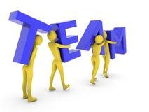 Mensen die de samen dragende blauwe brieven van het Team werken Royalty-vrije Stock Fotografie