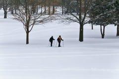 Mensen die in de sneeuw snowshoeing Royalty-vrije Stock Afbeeldingen