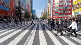 Mensen die de straat kruisen bij het gebied van Akihabara van Tokyo stock footage