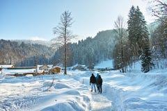 Mensen die door diepe sneeuw lopen Stock Afbeelding