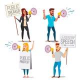 Mensen die door Luide Sprekersvector schreeuwen Leidingstoespraak Mensen op staking Demonstratieconcept Geïsoleerde vlakte stock illustratie