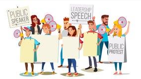 Mensen die door Megafoonvector schreeuwen De openbare Luide Aankondiging van de Protest Sociale Activist Demonstratie, Protest royalty-vrije illustratie