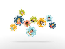 Mensen die in een team als toestelmechanisme werken Vector Stock Afbeelding