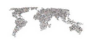 Mensen die een wereldkaart vormen Royalty-vrije Stock Foto's