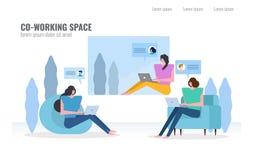 Mensen die en in Co-Werkende ruimte babbelen werken vector illustratie