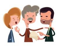 Mensen die en het karakter van het illustratiebeeldverhaal debatteren spreken Stock Afbeelding