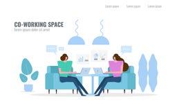 Mensen die en in mede-werkt ruimte spreken schaven royalty-vrije illustratie