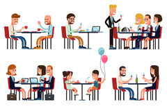 Mensen die en in restaurant of koffie eten spreken stock illustratie