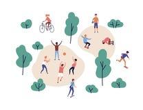 Mensen die fiets en schopautoped openlucht samen, met een skateboard rijdende en berijdende spelen Mannen en vrouwen die sporten  royalty-vrije illustratie