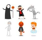 Mensen die Halloween-monsterkostuum op witte achtergrond dragen, Stock Illustratie