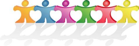 Mensen die handen houden die samen hartenvormen maken royalty-vrije illustratie