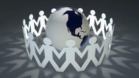 Mensen die handen houden rond de wereld