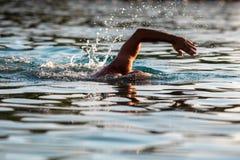 Mensen die in het overzees zwemmen royalty-vrije stock afbeeldingen