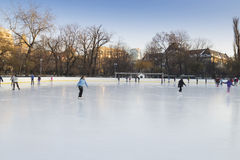 Mensen die ijs het schaatsen van piste genieten Royalty-vrije Stock Foto's
