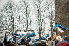 Mensen die 100 jaar van de Onafhankelijkheid van Estland vieren bij Toompea-kasteel Royalty-vrije Stock Foto