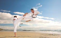Mensen die Karate uitoefenen Stock Afbeeldingen