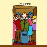 Mensen die in Lift berijden Stock Foto's