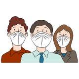 Mensen die Maskers voor Bescherming dragen Royalty-vrije Stock Afbeeldingen