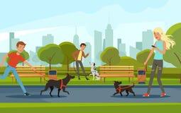 Mensen die met honden in stedelijk park lopen Vectorlandschap in beeldverhaalstijl Royalty-vrije Stock Afbeeldingen
