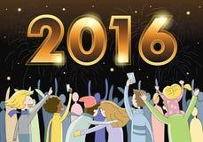 Mensen die Nieuwjarenvooravond 2016 vieren royalty-vrije illustratie