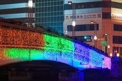 Mensen die op de brug door de Liefderivier van Kaohsiung tijdens de vieringen voor het Chinese nieuwe jaar lopen Stock Foto's