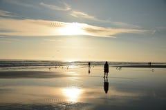 Mensen die op het mooie strand lopen Stock Fotografie