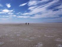 Mensen die op het zoute gebied van meerelton volgograd lopen Royalty-vrije Stock Afbeeldingen