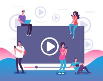 Mensen die op online video letten De digitale Internet-televisie, de speler van Webvideo's of de sociale media leven stroom vecto vector illustratie