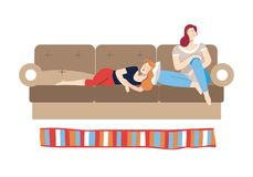 Mensen die op weekdagen vrouwelijke vrienden op laag ontspannen royalty-vrije illustratie