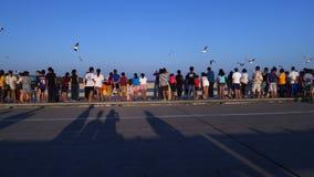 Mensen die op zeemeeuw letten op Bangpu-Recreatiecentrum Stock Foto's
