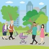 Mensen die in park lopen royalty-vrije illustratie