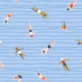 Mensen die patroon zwemmen De naadloze achtergrond van de zomer Zomer vectorillustratie met zwemmers vector illustratie