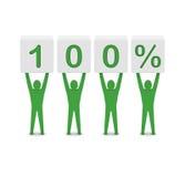 Mensen die 100 percenten houden. Royalty-vrije Stock Foto