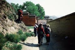 mensen die rond het tibetan boeddhistische klooster als deel van een bedevaartcirkel lopen in traditionele kleding stock foto