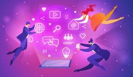 Mensen die rond van Tablet met het Gloeiende Scherm vliegen royalty-vrije illustratie