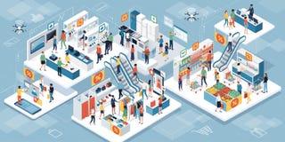 Mensen die samen bij de supermarkt winkelen en vergroot realit vector illustratie