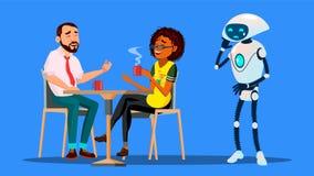 Mensen die samen in Restaurant hangen en Droevige Robot negeren die Alleen Vector blijven Geïsoleerdeo illustratie vector illustratie