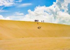 Mensen die Sandboarding maken bij Duin Jericoacoara Brazilië Stock Foto's