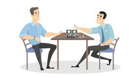 Mensen die schaak spelen stock illustratie