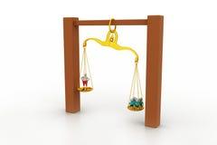 Mensen die in sclaes in evenwicht brengen Stock Foto