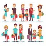 Mensen die in set van tekens van het wandelgalerij de vectorbeeldverhaal winkelen royalty-vrije illustratie